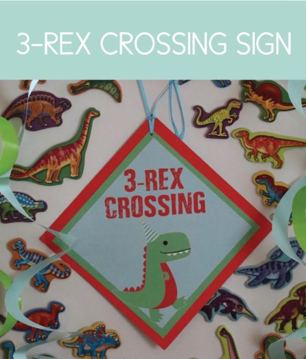 3-Rex Crossing Dinosaur Sign