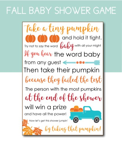 Don't Say Baby Fall Themed Baby Shower Game