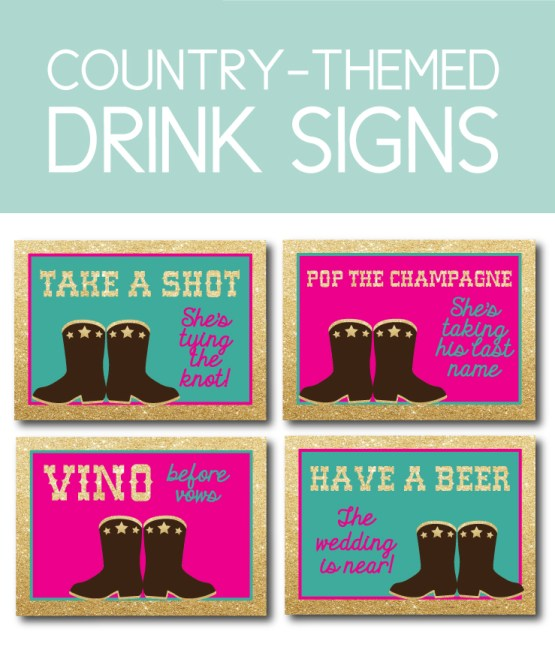 Country-Themed Drink Signs