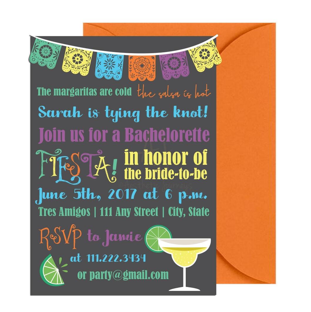 Fiesta Bachelorette Party Invite + Envelopes -
