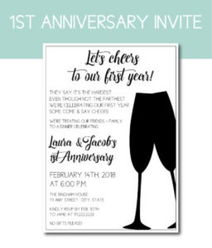Cheers to One Year Anniversary Invite