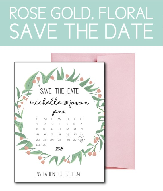 Rose Gold Save the Date with Floral Accents
