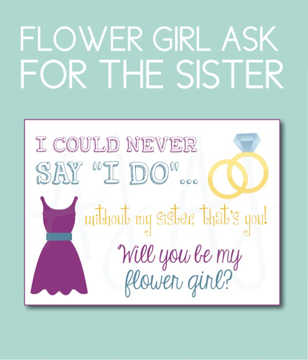 Flower Girl Card for the Sister of the bride