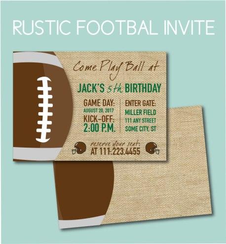 Rustic Football Invite