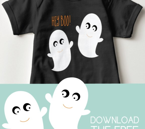 """""""Hey boo!"""" Baby outfit with ghosts"""
