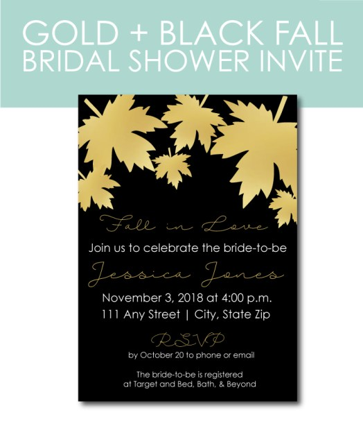 Gold and Black Fall Bridal Shower Invite