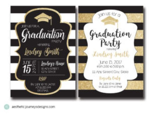 Gold and Black Graduation Invites