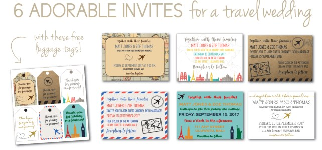 6 Adorable Travel Themed Invites for a Wedding You'll Love