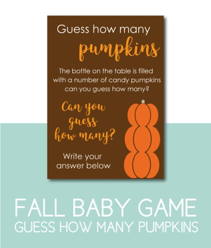 Guess How Many Pumpkins Baby Shower Game