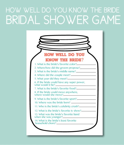 How Well Do You Know the Bride Shower Game
