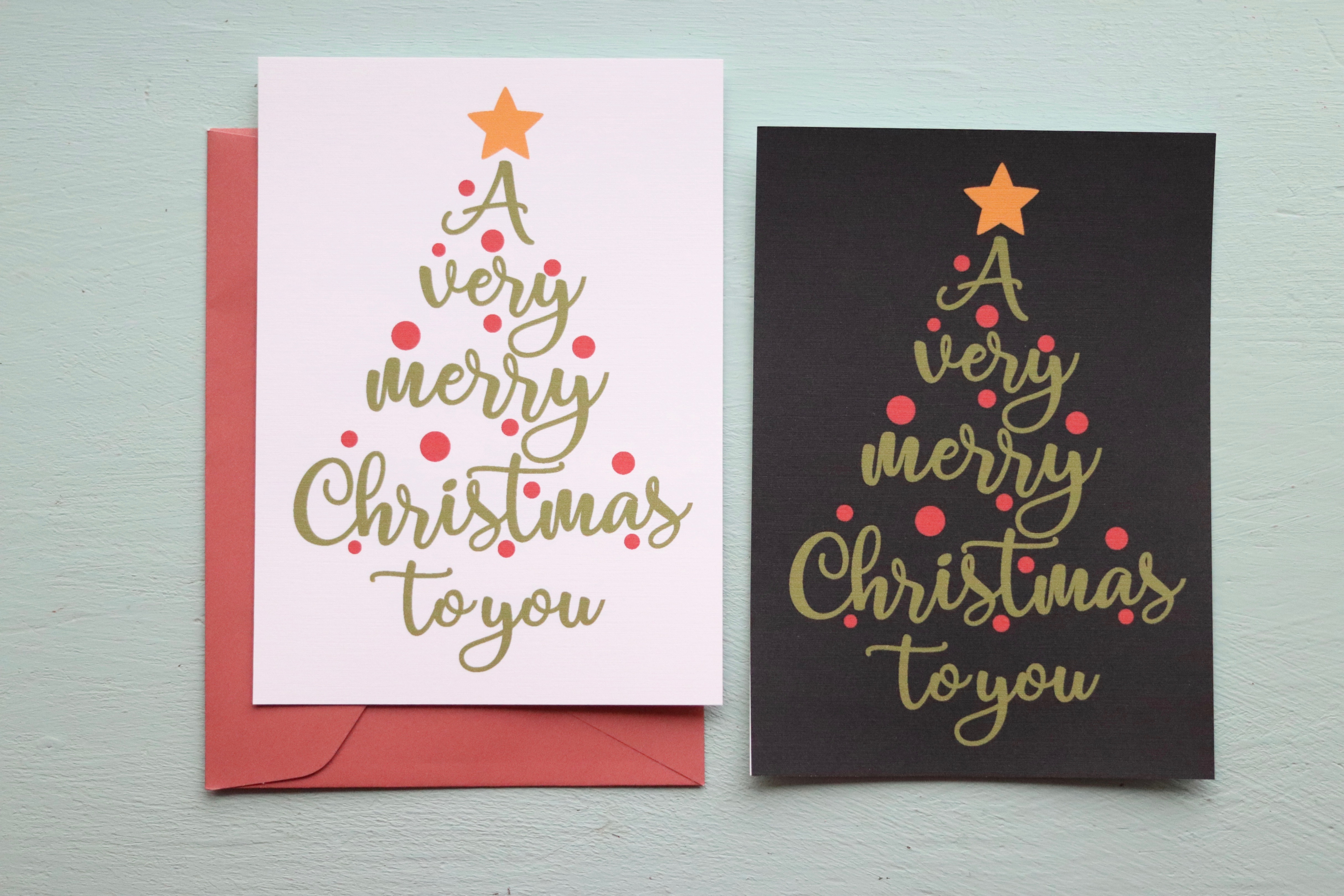 Printed Very Merry Christmas Cards + Envelopes | Set of 15 -