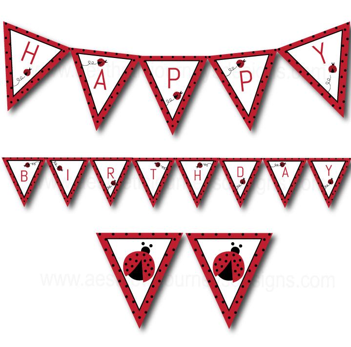 Love Bug Happy Birthday Banner