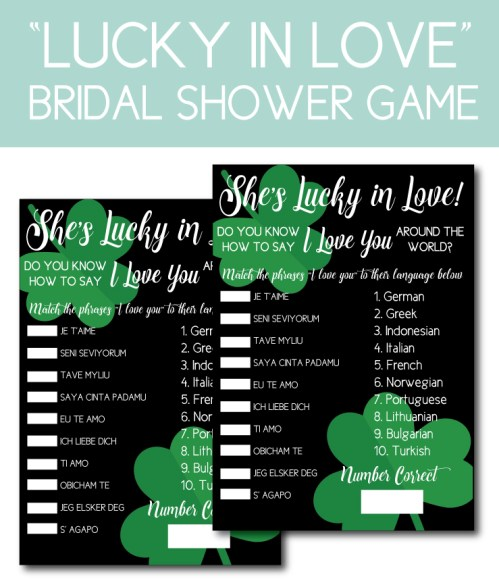 Love Themed Bridal Shower Game for a Lucky In Love Shower
