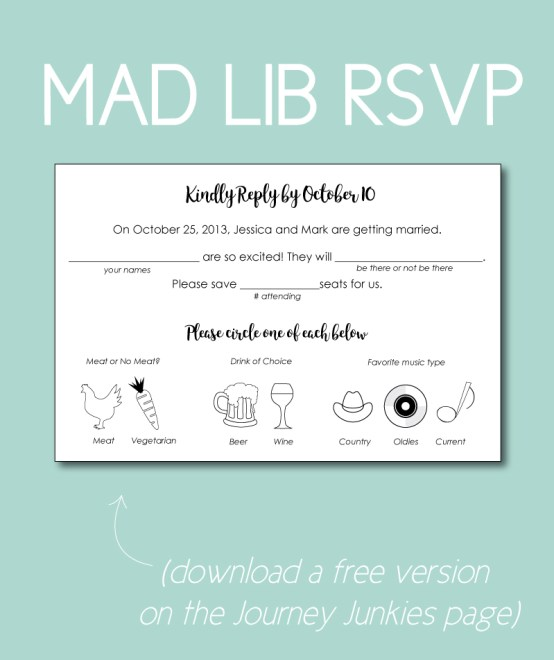Mad lib RSVPs are a fun way to get your guests to tell you they're coming. Don't make them too confusing or too cute though.