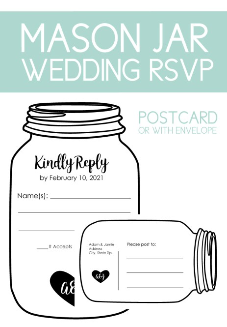 Find fun RSVPs in different shapes. The Mason jar RSVP can be made as a postcard or for an envelope.