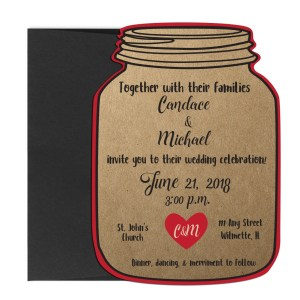Rustic Mason Jar Shaped Wedding Invite