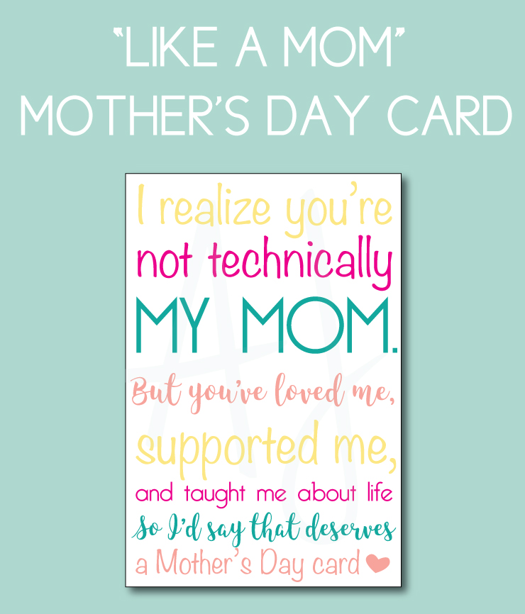 "Mother's Day Card for the woman who's ""like a mom""."