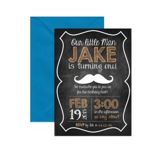 mustache chalkboard invite