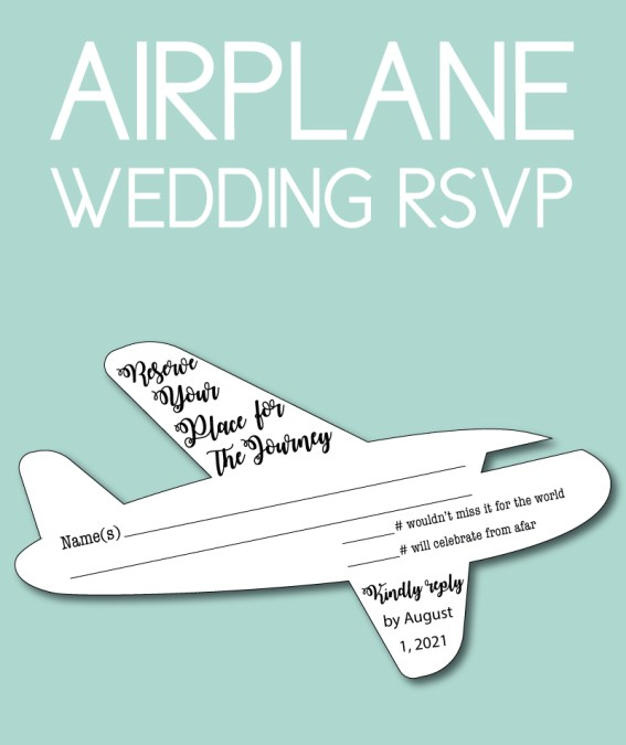 Planning a destination wedding and looking for unique invites and RSVPs? These wedding RSVPs have fun wording in a fun airplane shape.