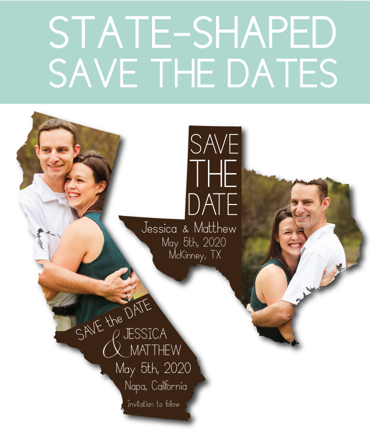 State-Shaped save the date cards or magnets