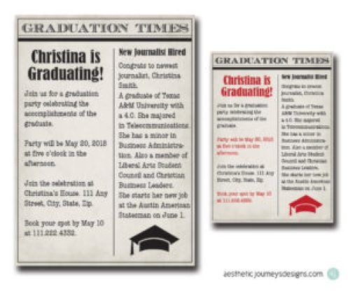 Newspaper Graduation Invites