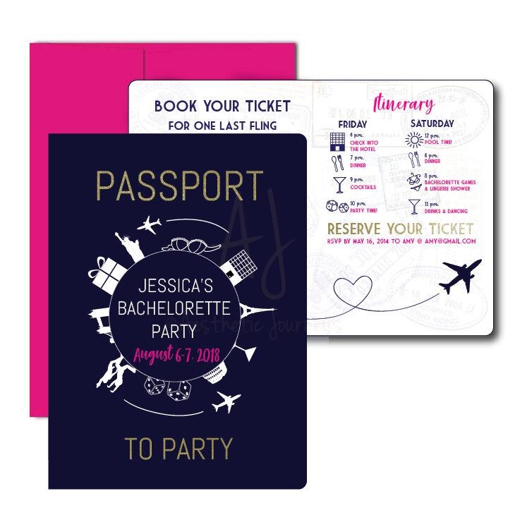 Passport to Party Bachelorette Invite