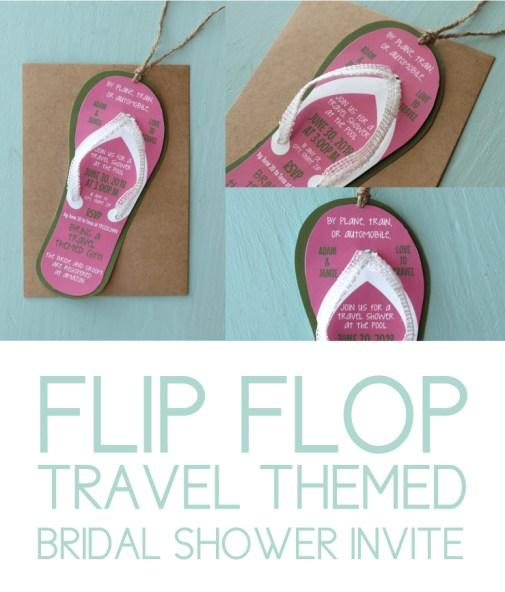 Flip flop travel themed bridal shower invite