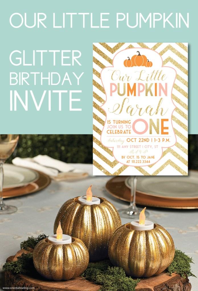 glitter pumpkin invite