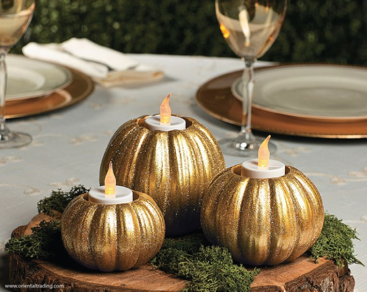 glitter pumpkin votives