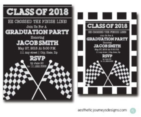 Race Themed Graduation Invites