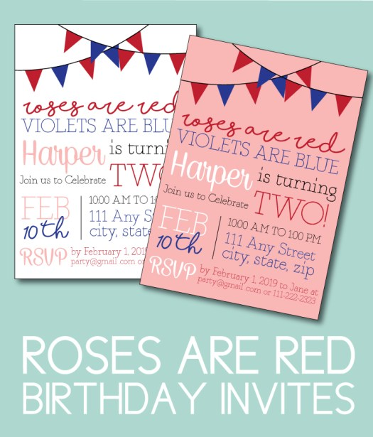 Roses are Red, Violets are Blue Birthday Invite