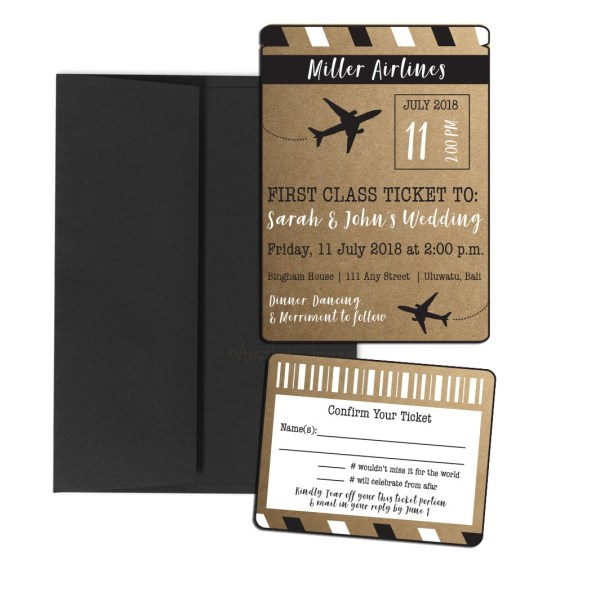Rustic Airline Ticket Wedding Invite