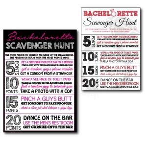Bachelorette Themed Scavenger Hunt