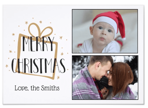 Classic Merry Christmas Card with Photos