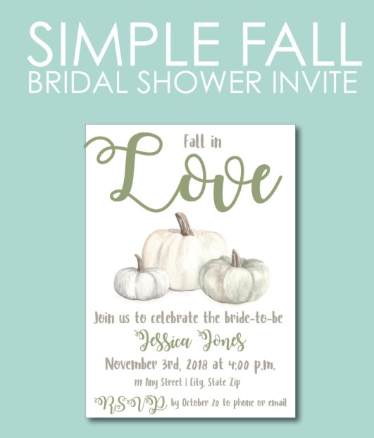 Green and White Fall Bridal Shower Invite