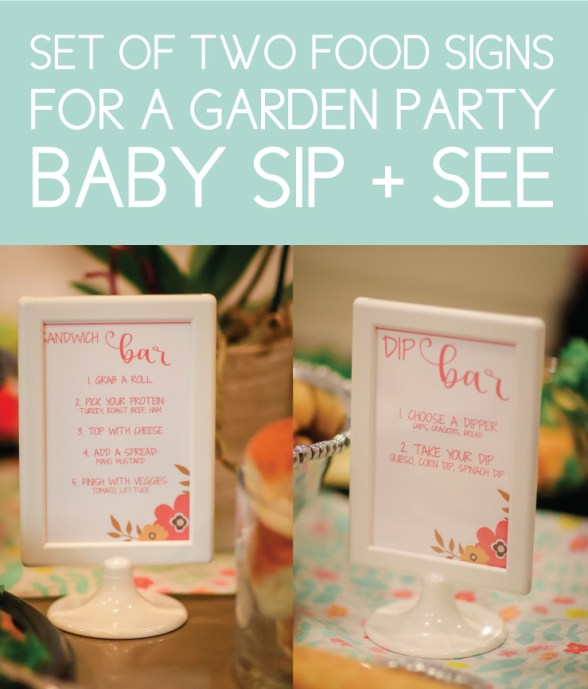 Informational Food Signs for a garden party