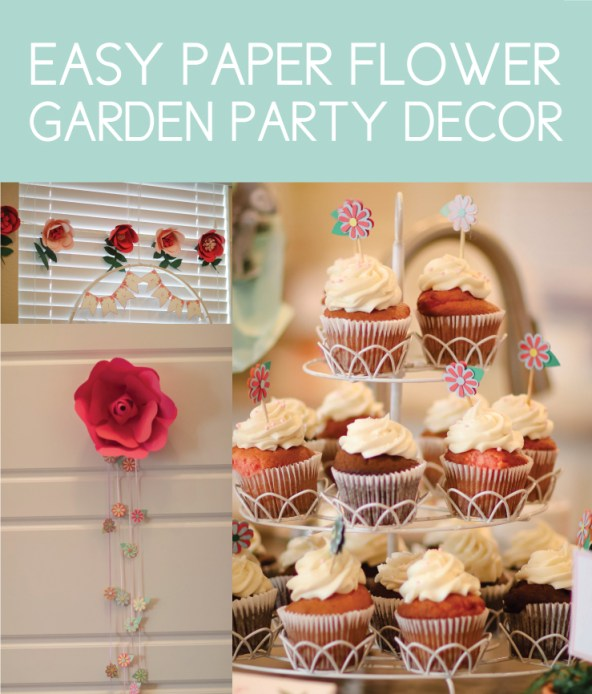Paper Flower Banners and Cupcake Toppers