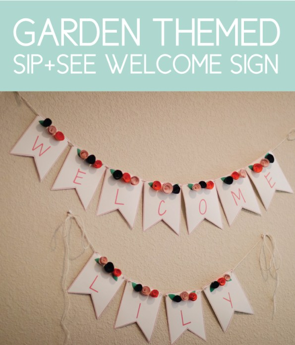 Floral Welcome Sign for a Garden Sip and See Party