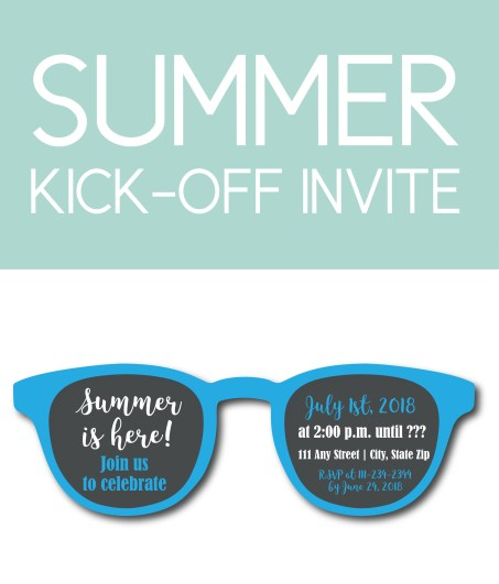 Sunglasses-Shaped Pool Party Invite