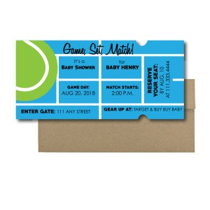Tennis Ticket Baby Shower Invite