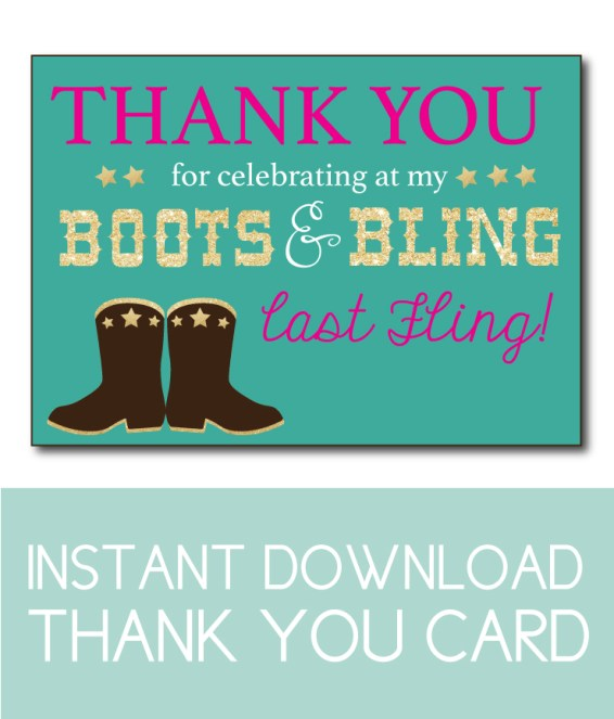 Boots 'n Bling Instant Download Thank You Card