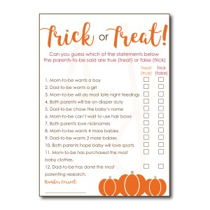 Trick or Treat Baby Shower Game
