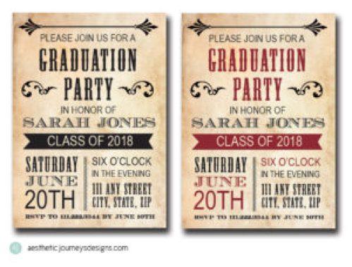 Vintage Graduation Invites