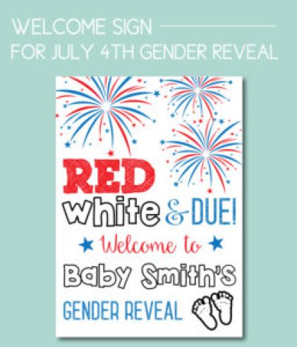 July 4th Gender Reveal Welcome Sign