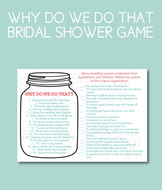 Traditions Themed Bridal Shower Game