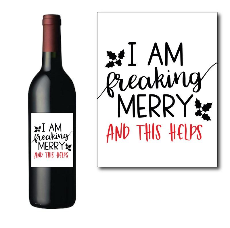 Freaking Merry Wine Bottle Label