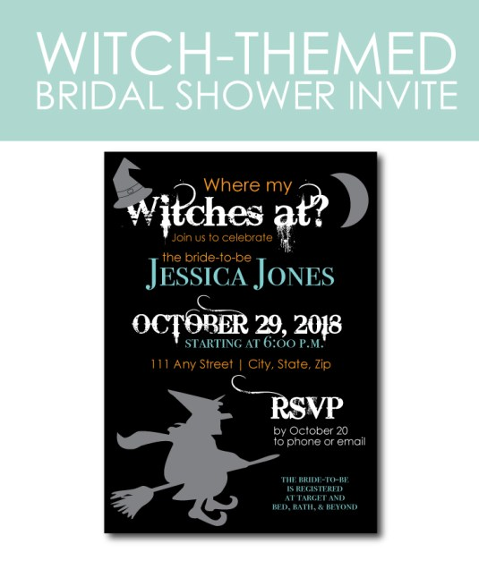 Witch-Themed Bridal Shower Invite