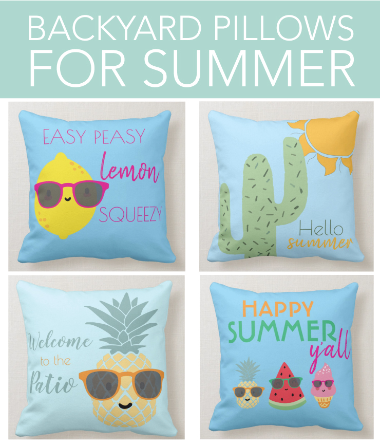 Backyard pillows for the patio or lounge chairs.