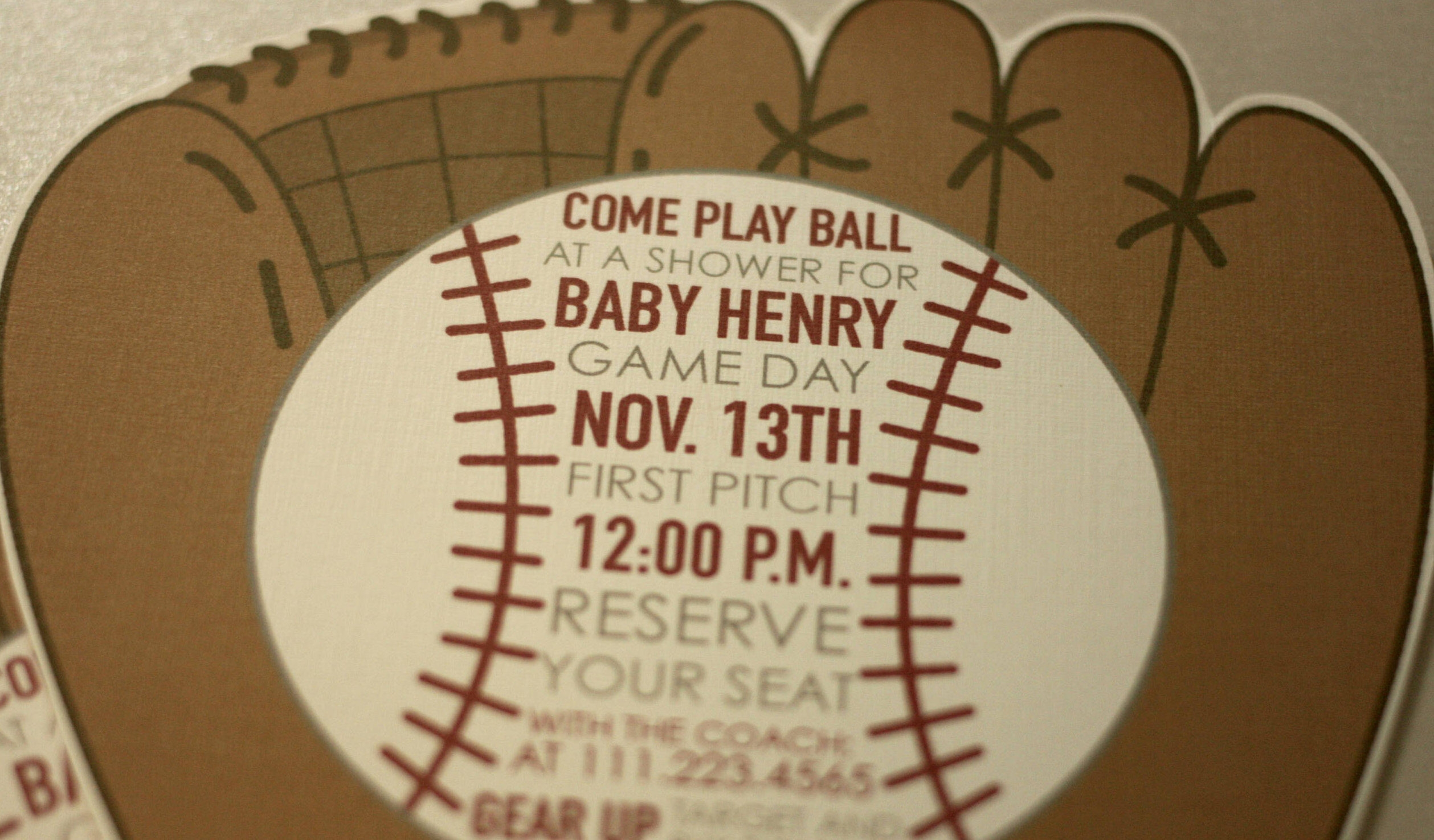 Baseball Themed Invitation for Baby Shower + Envelopes -