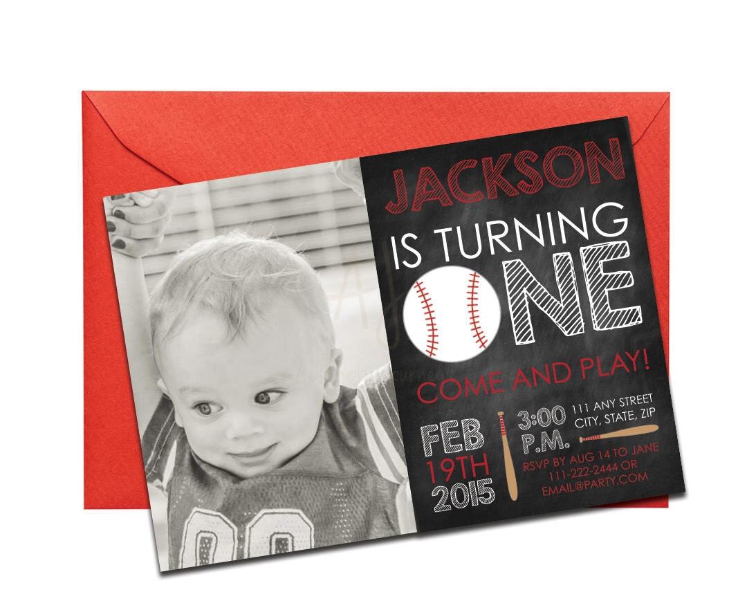 Baseball Chalkboard Invitation With Personal Photo